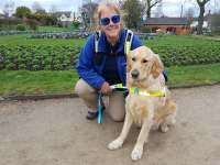 Tracey with new Guide Dog Teddy in Caldicott Park, Rugby, shortly after qualifying.